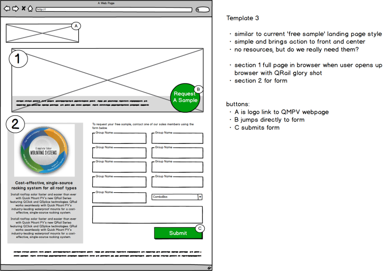 QRail Sample Page Wireframe