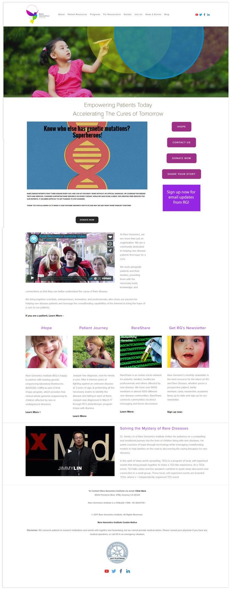 Rare Genomics Website 2016-2018